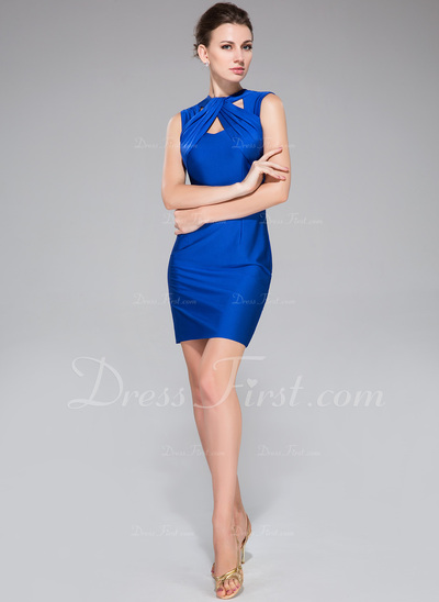 Sheath/Column Scoop Neck Short/Mini Jersey Cocktail Dress With Ruffle (017042389)