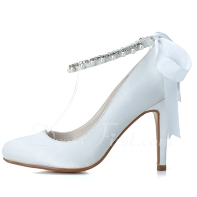 Women's Satin Stiletto Heel Closed Toe Pumps With Bowknot Imitation Pearl (047057096)