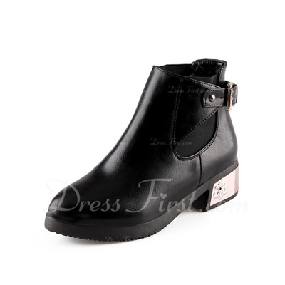 Leatherette Chunky Heel Ankle Boots With Buckle shoes (088056741)
