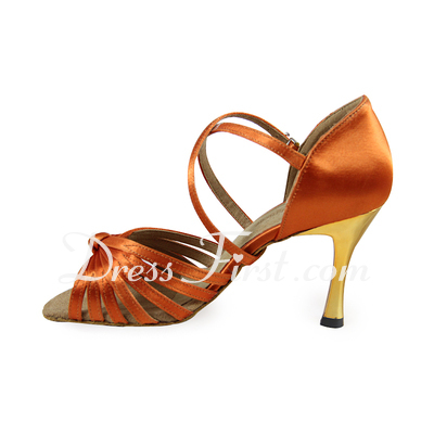 Women's Satin Heels Sandals Latin Ballroom Dance Shoes (053020008)