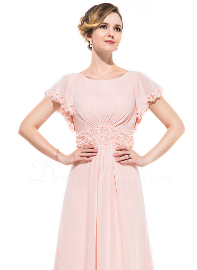 A-Line/Princess Scoop Neck Sweep Train Chiffon Evening Dress With Ruffle Beading Flower(s) Sequins (017050392)