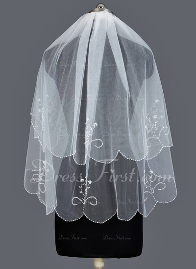 Two-tier Elbow Bridal Veils With Beaded Edge (006034218)