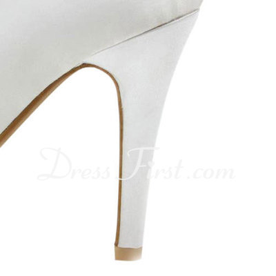 Women's Satin Stiletto Heel Peep Toe Platform Sandals (047011893)