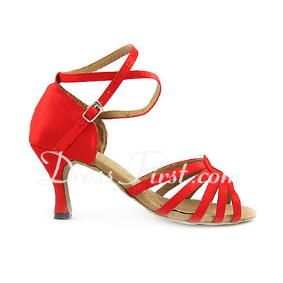 Women's Satin Heels Sandals Latin With Ankle Strap Dance Shoes (053013523)