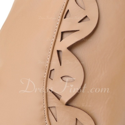 Leatherette Wedge Heel Pumps Closed Toe Wedges Over The Knee Boots With Lace-up shoes (088054807)