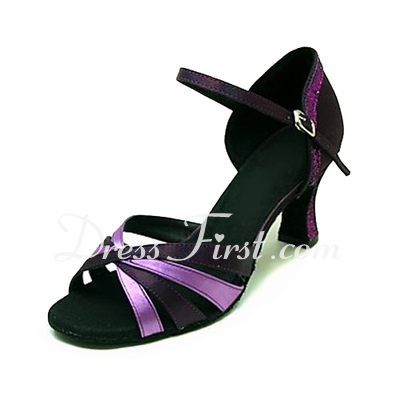 Women's Satin Heels Sandals Latin Ballroom Dance Shoes (053013161)