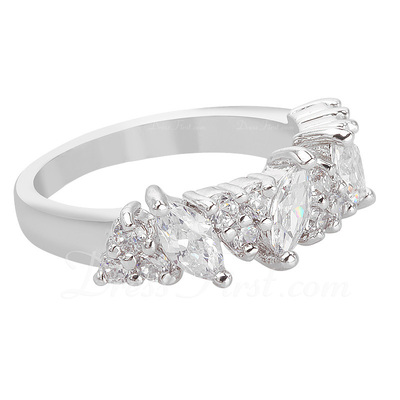 Gorgeous Copper/Platinum Plated With Cubic Zirconia Ladies' Rings (011056016)