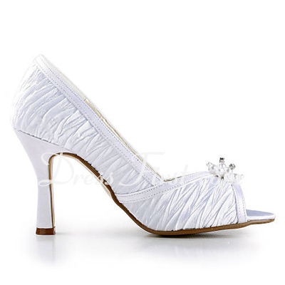 Women's Satin Stiletto Heel Peep Toe Sandals With Beading (047016482)