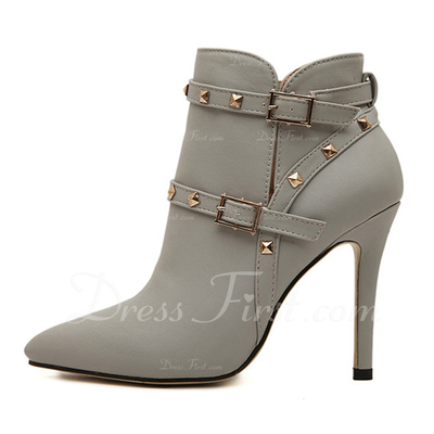 Leatherette Stiletto Heel Pumps Platform Closed Toe Boots Ankle Boots With Buckle Zipper shoes (088057550)