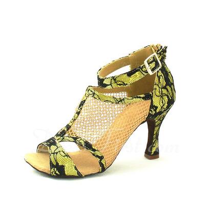 Kadın Lace Topuk Sandalet Latin Ile Ayakkabı Askısı Dans Ayakkabıları (053057144)