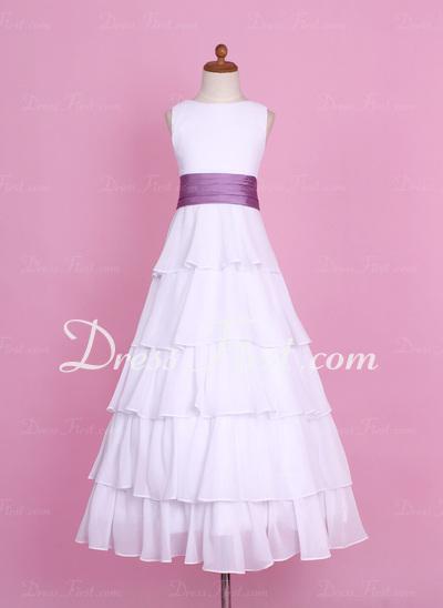 Çan/Prenses Uzun Etekli Çiçek Kız Elbise - Şifon/Charmeuse Kolsuz Yuvarlak Yaka Ile Büzgü/Kuşaklar/Çiçek(ler) (010002146)