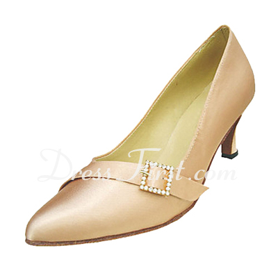 Women's Satin Heels Pumps Ballroom With Rhinestone Buckle Dance Shoes (053013165)
