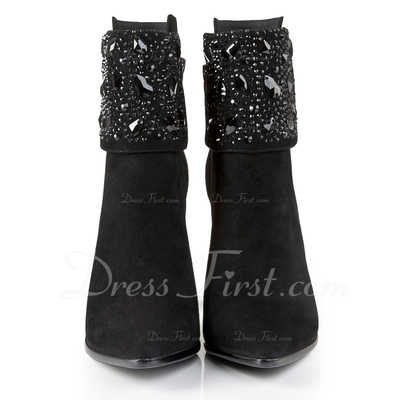 Real Leather Chunky Heel Pumps Closed Toe Ankle Boots With Rhinestone Zipper shoes (088055724)