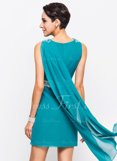 Sheath/Column Cowl Neck Short/Mini Chiffon Cocktail Dress With Sash Beading Sequins (016055937)