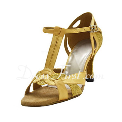 Women's Satin Heels Sandals Latin With T-Strap Dance Shoes (053018507)