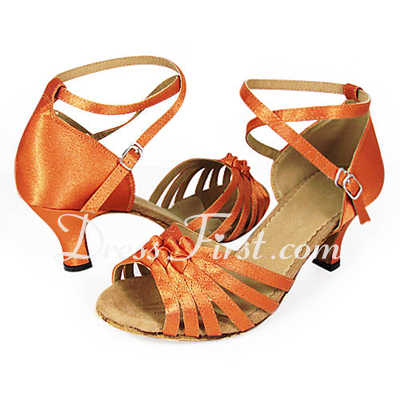 Women's Satin Heels Sandals Latin With Ankle Strap Dance Shoes (053013439)