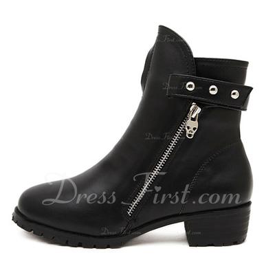 Suni deri Kalın Topuk Kapalı Toe Bot Ayak bileği Boots Martin Boots Ile Perçin Fermuar ayakkabı (088057543)