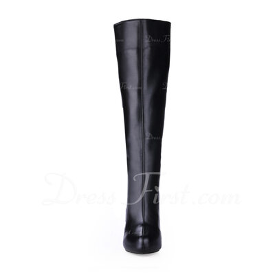 Leatherette Stiletto Heel Platform Boots Knee High Boots shoes (088013828)