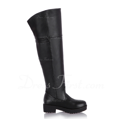 Suni deri Alçak Topuk Platform Diz Yüksek Boots Boots Binme ayakkabı (088057482)