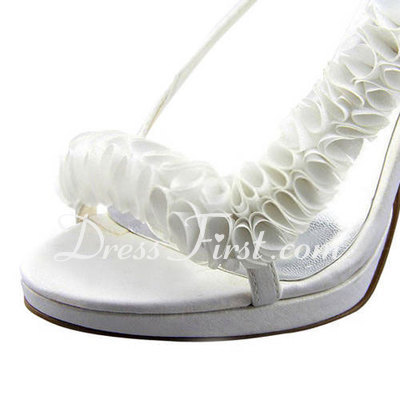 Women's Satin Stiletto Heel Platform Sandals Slingbacks With Ruffles (047011888)