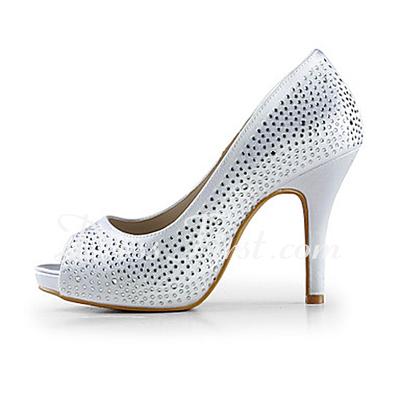 Women's Satin Cone Heel Peep Toe Platform Sandals With Rhinestone (047015218)
