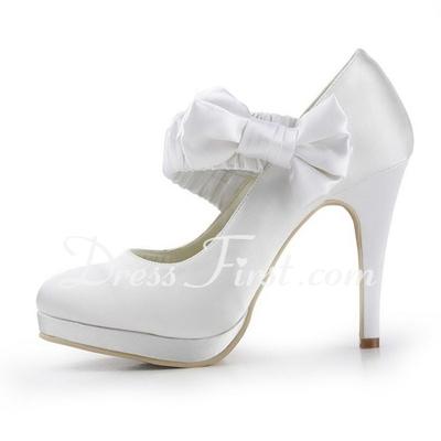 Saten Ince topuk Kapalı ayak ucu kısmını Platform Pompalar Düğün Ayakkabı Ilmek (047011862)