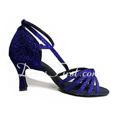 Women's Sparkling Glitter Heels Sandals Latin With Ankle Strap Dance Shoes (053013440)