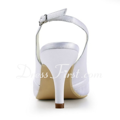 Women's Satin Stiletto Heel Pumps Slingbacks With Rhinestone (047011887)