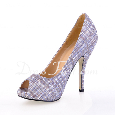 Leatherette Stiletto Heel Pumps Peep Toe shoes (085017005)