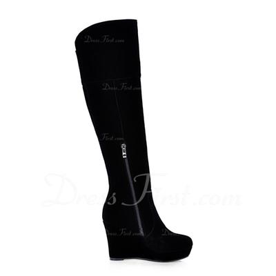 Süet Dolgu Topuk Diz Yüksek Boots Ile Pul ayakkabı (088057322)