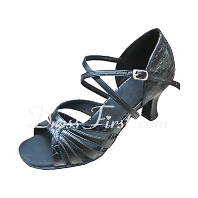 Women's Leatherette Sparkling Glitter Heels Sandals Latin With Ankle Strap Dance Shoes (053013183)