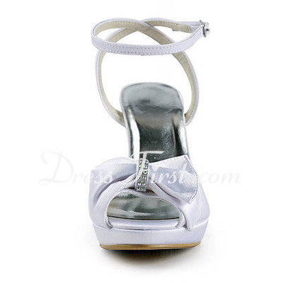Women's Satin Cone Heel Platform Sandals Slingbacks With Bowknot Rhinestone (047016575)