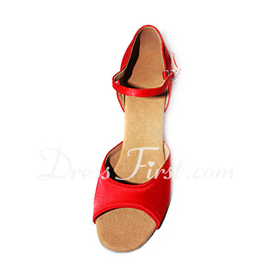 Women's Satin Heels Sandals Latin Dance Shoes (053013197)