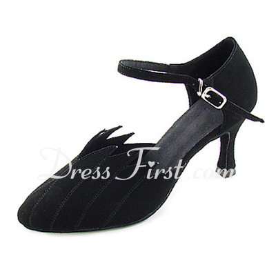 Women's Nubuck Heels Pumps Modern With Buckle Dance Shoes (053013444)