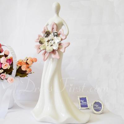Beautiful Ladies Ceramic Wedding Cake Topper/Birthday Cake Topper (119054551)