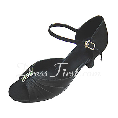 Women's Satin Heels Sandals Latin Ballroom With Rhinestone Dance Shoes (053013341)