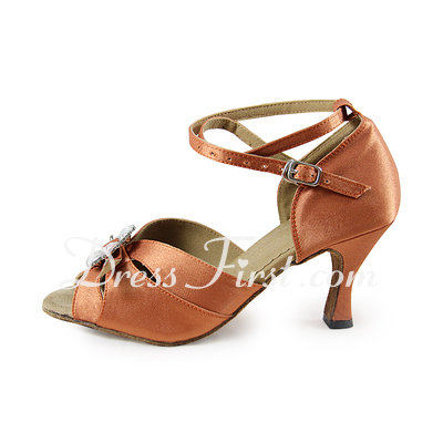Women's Satin Heels Sandals Latin With Rhinestone Ankle Strap Dance Shoes (053019999)