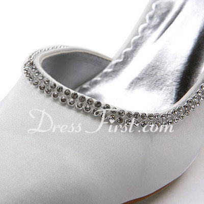 Women's Satin Spool Heel Closed Toe Pumps With Rhinestone (047011865)