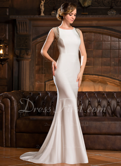 Trumpet/Mermaid Scoop Neck Sweep Train Jersey Evening Dress With Beading Sequins (017050398)