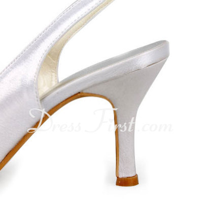 Women's Satin Stiletto Heel Peep Toe Sandals Slingbacks (047011869)