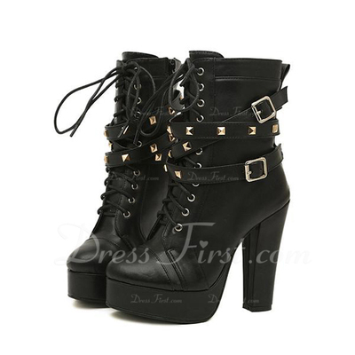 Leatherette Chunky Heel Ankle Boots With Buckle shoes (088056661)