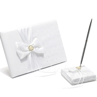 White Bow Sequin/Sash Guestbook & Pen Set (101018184)