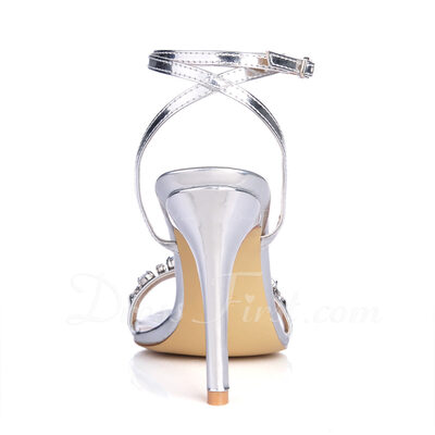 Women's Leatherette Stiletto Heel Sandals Slingbacks With Rhinestone shoes (087015254)
