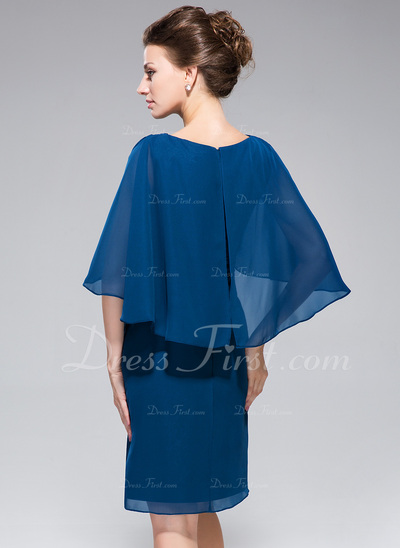 Sheath/Column V-neck Knee-Length Chiffon Mother of the Bride Dress With Ruffle (008042323)