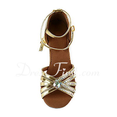 Women's Patent Leather Heels Sandals Latin Ballroom Salsa Wedding Party With Rhinestone Ankle Strap Dance Shoes (053018640)