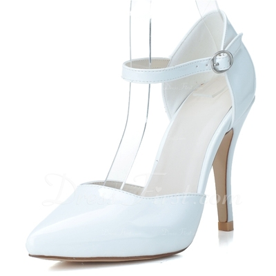 Patent Leather Stiletto Heel Pumps Platform Closed Toe With Buckle shoes (085057110)