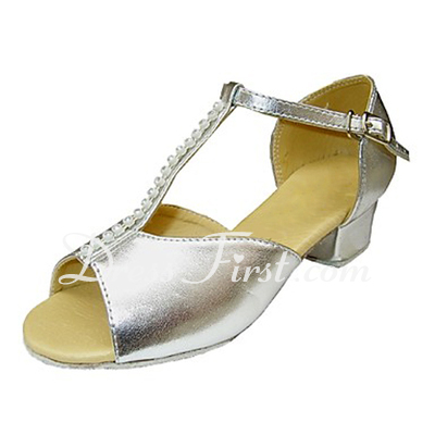 Kids' Leatherette Sandals Flats Latin With T-Strap Dance Shoes (053013539)