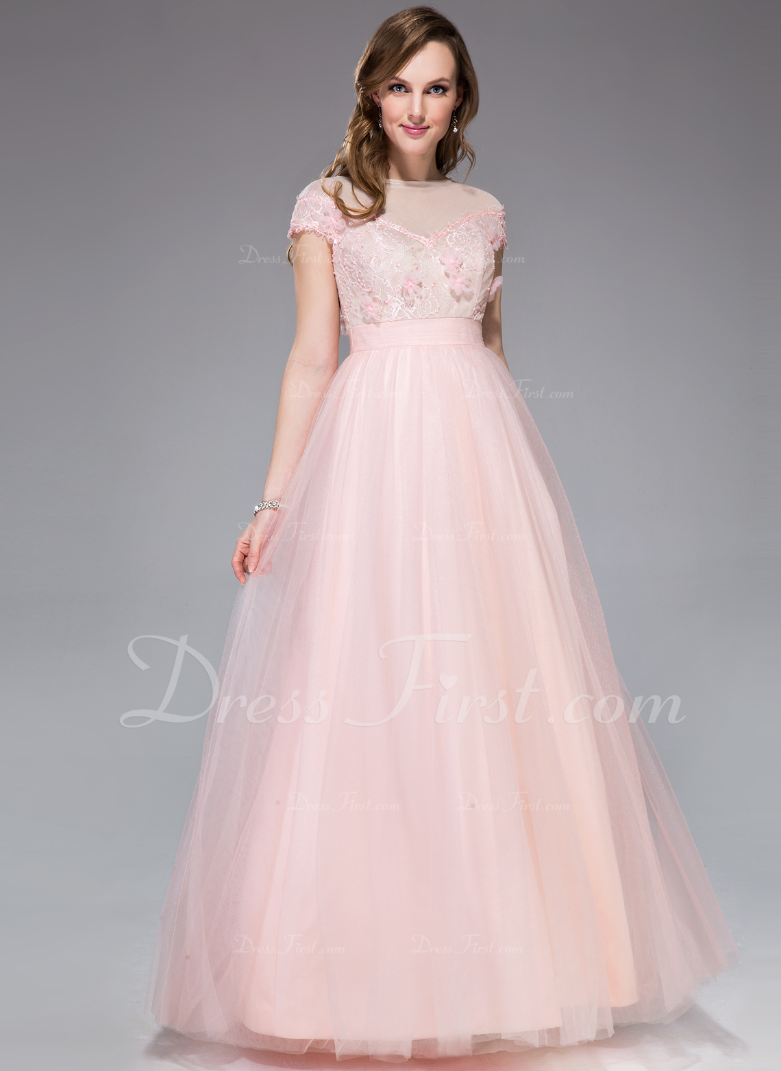 A-Line/Princess Off-the-Shoulder Floor-Length Tulle Lace Prom Dress With Beading Flower(s) Sequins (018044993)