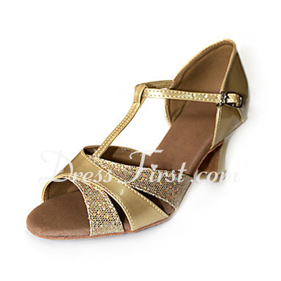Women's Sparkling Glitter Patent Leather Heels Sandals Latin With T-Strap Dance Shoes (053013372)