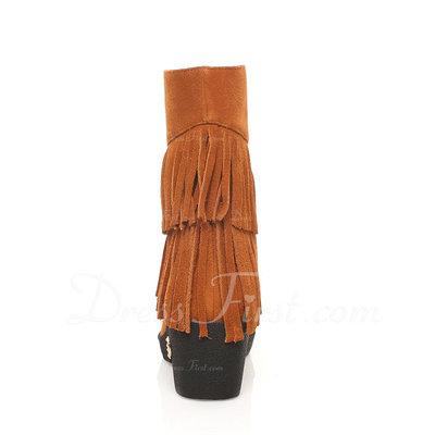 Real Leather Wedge Heel Ankle Boots With Tassel shoes (088054453)